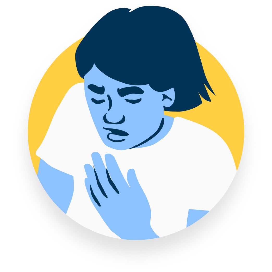 Illustration of a man who is having trouble breathing and holding a hand on his chest